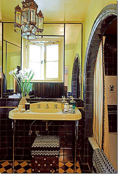 Tropical-chic Design...designer Martyn Lawrence-Bullard's own bathroom