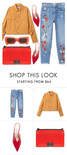 """""""Embroidered"""" by floralandmay ❤ liked on Polyvore featuring MANGO, Attico, Chanel and Linda Farrow"""
