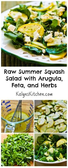For hot weather (and using up the garden zucchini) you can't beat this Raw Summer Squash Salad with Arugula, Feta, and Herbs.  This unusual salad would be a hit for a summer party, and no cooking involved! #LowCarb #GlutenFree [from KalynsKitchen.com]