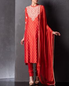 Crimson Red Kurta Set with Embroidery - AM:PM | SHOP NOW ON : bit.ly/AMPM_buy