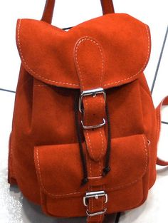Natural  suede leather Backpack extra small. $65.00, via Etsy.