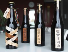 Packaging — Swing microbrewery by Simon Langlois, via Behance. Visual identity representing Quebec culture and inspired by Native American pretroglyphs.