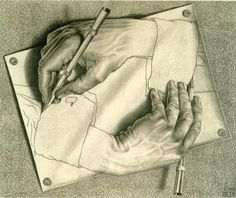 This drawing demonstrates the illusion of space. The drawing looks like a hand is sketching the other hand. It certainly tricks the eye. http://blog.scoop.it/wp-uploads/2013/06/illusions.jpg