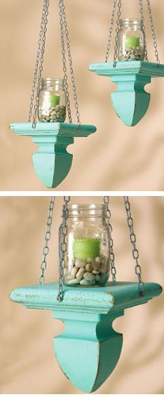 outdoor hanging party lights made from post caps...So cool as long as the jar is secured...