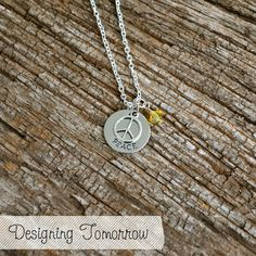 Peace Metal Stamped Necklace with Peace Sign Charm and bead