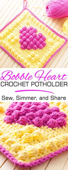 Crochet a sturdy, double-layered cotton potholder in a fun, bright bobble heart design! This project features the bobble stitch and includes a free crochet pattern and step-by-step photo-tutorial. Bobble Crochet, Crochet Amigurumi, Crochet Potholders, Bobble Stitch, Crochet Squares, Crochet Motif, Free Crochet, Crochet Patterns, Crochet Kitchen
