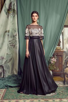 Colourful Dreams Collection Evening Fashion – Papilio Boutique Style is an elegant evening gown with ivory embroidery, sheer black. Shrug For Dresses, Gala Dresses, The Dress, Flapper Dresses, Classy Evening Gowns, Evening Dresses, Afternoon Dresses, Long Gown Elegant, Unique Prom Dresses