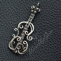 Violin Sterling Silver pendant Wire Wrapping necklace