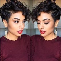 Incredible Curly Pixie cuts that you'll love - Hair Styles Curly Pixie Hairstyles, Curly Pixie Cuts, Short Curly Haircuts, Short Hair Wigs, Undercut Hairstyles, Human Hair Wigs, Curly Hair Styles, Natural Hair Styles, Curly Short