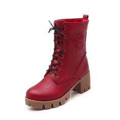 BalaMasa Girls Bandage Square Heels Platform Claret Imitated Leather Boots - 5 B(M) US -- Visit the image link more details.