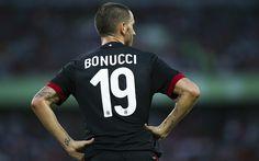 Download wallpapers Leonardo Bonucci, Rossoneri, footballers, Serie A, AC Milan, soccer, Milan