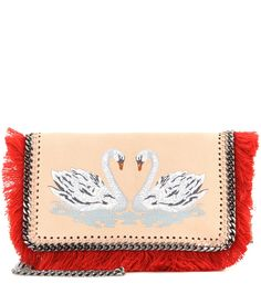 STELLA MCCARTNEY Falabella Swan embroidered cross-body bag
