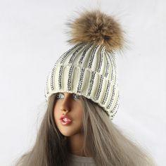 2017 New Raccoon Fur Pompoms Winter Hats For Women Diamond Cap Female Warm Thicken Crochet Beanie Hat