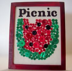 Watermelon art made with buttons ~ Perfect addition to your Summer decor