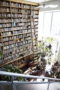 Wall of books, swoon! I'd never leave this room.