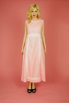 Pink Polka Dot and White Lace Boho Maxi Dress Size by twotart, $32.00