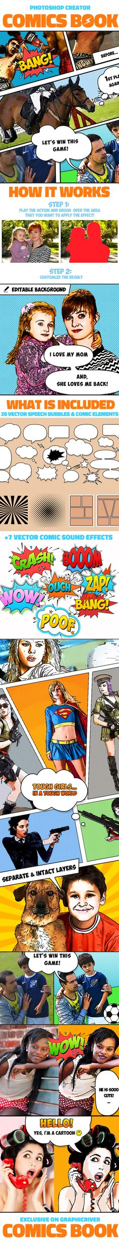 Buy Comics Book Photoshop Creator by psddude on GraphicRiver. How to make a comic book in Photoshop? This action creates Photoshop comic book effects from your images. Make A Comic Book, Free Comic Books, Comic Books Art, Comic Strip Template, Comic Strips, World Images, Book Images, Effects Photoshop, Photoshop Actions