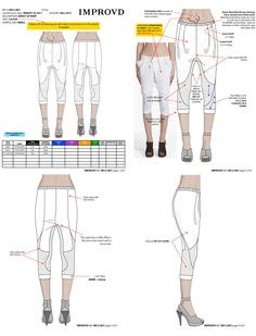 knit drop crotch pants tech pack for Improvd