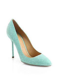 I'm in love! Sergio Rossi Chi Chi Crackled Leather Pumps