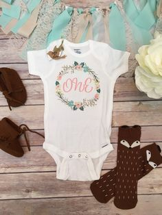 One Baby Bodysuit First Birthday Outfit Girl by BittyandBoho