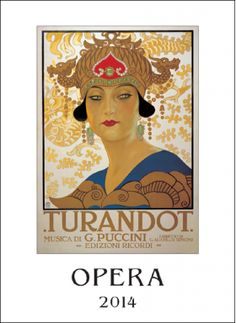 """Large calendar with vintage opera posters, printed in Italy. Size 14"""" x 20"""""""
