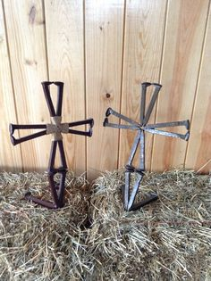 Railroad spike standing crosses. Can be painted. Check out American Outlaw Welding & Custom Fabrication on Facebook.