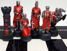Medieval Times Crusades Warrior Red Blue Chess Men Set The Crusade No Board Cherry Games, Chess Set Unique, Crusader Knight, Chess Table, Kings Game, Man Set, Medieval Times, Chess Pieces, Red And Blue