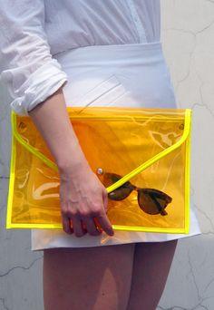 Neon Day-Glo Oversize Clear Envelope Clutch Purse Bag Handbag - Cosmic Jelly Orange Transparent - Women Ladies - Handmade