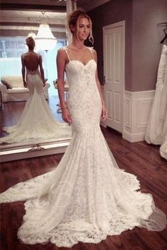 Sexy Backless Mermaid Lace Wedding Dresses 2017 Long Custom Gowns Affordable Bridal