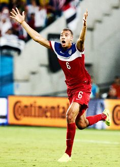 American soccer player John Brooks celebrating his goal during the World Cup against Ghana.