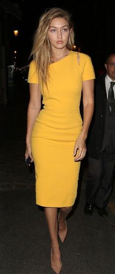 Looking for a similar pencil fit yellow dress as the one Gigi Hadid is wearing