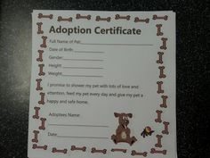 Doggie adoption certificate for dog themed birthday party with dog adoption