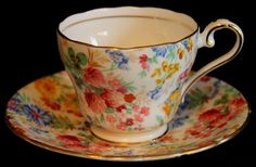 Aynsley England Fine Bone China Chintz Tea Cup & Saucer Pink Blue Yellow Floral