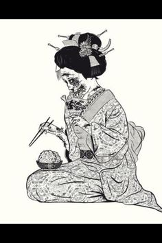 Geisha zombie eating brains