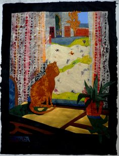 "Natasha Metaxa ""Cat drawn by the light"",collage with handmade paper,   50x39cm"