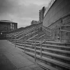 The unexpected beauty of modern railings #unexpected #beauty #of #modern #railings #blackandwhite #blackandwhitephoto #blackandwhitephotography #bnwphotography #bnwmood #monotone #monochromatic #steps #stairwaytoheaven #halifax #uk