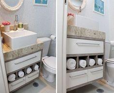 Armário do meu lavabo (nichos para toalhas, gavetas e porta)