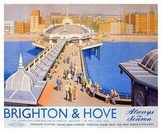 Vintage Railway Advertising Rail Travel Poster Reprint A3 Brighton & Hove   eBay