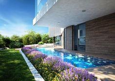 Immobilie in Kroatien mit Meerblick in Istrien: Mit weißen Steinplatten und Teakholz bekleidet und südlich orientiert um die bestmögliche Sonnenstrahlung ganzjährlich zu sichern.