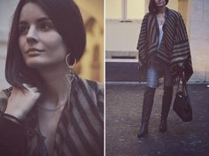 jeans, T-shirt, bag, earring: Zara, leather jacket: Asos, poncho: Stradivarius, boots: Humanic Shirt Bag, T Shirt, Asos, Zara, Leather Jacket, Jeans, Earrings, Jackets, Fashion