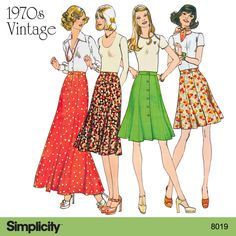 Get the 70s inspired free-spirited style with a front-gored buttoned skirt using Simplicity pattern 8019!