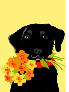 greeting card black lab with flower bouquet by LizzyClara on Etsy, $3.50