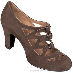 Aris Allen Women's Brown Velvet 1940s 3-Buckle Dance Shoes, dancestore.com - 1