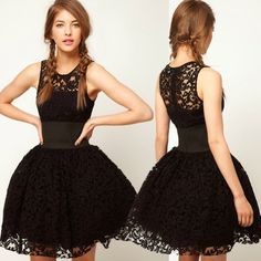Thinkbay® Womens Queen Princess Black Tutu Party Tunic Lace Wedding Prom Cocktail Dress