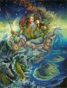Neptune and Mermaid by Josephine Wall Josephine Wall, Art Expo, Symbole Viking, Celtic Dragon, Celtic Art, Mermaids And Mermen, Arte Popular, Mermaid Art, Mermaid Gifs