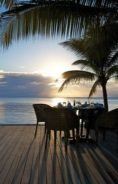Relaxing dinner - under a palm tree, watching the sunset with a beautiful view of the ocean...