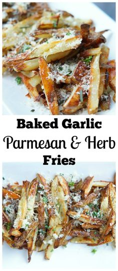 These Baked Garlic Parmesan Herb Fries are the perfect side dish for any meal! They are especially good with burgers straight off the grill! Baked Garlic, Garlic Parmesan, Real Food Recipes, Cooking Recipes, Healthy Recipes, Cooking Stuff, Vegetable Dishes, Vegetable Recipes, Appetizer Recipes