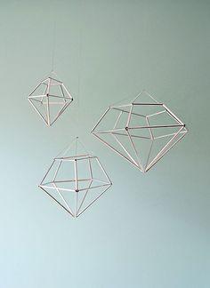DIY hanging diamond decor