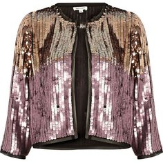 River Island Pink and gold sequin bolero (5.820 RUB) ❤ liked on Polyvore featuring outerwear, jackets, 3/4 sleeve jacket, tall jackets, river island, pink bolero jacket and pink jacket