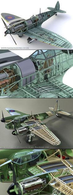 3D cutaways of Supermarine Spitfire and de Havilland Mosquito